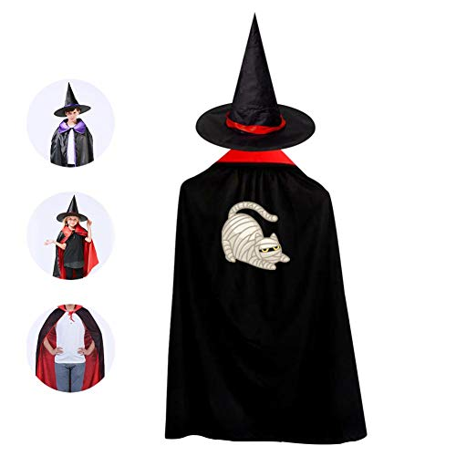 69PF-1 Halloween Cape Matching Witch Hat Mummy Cat