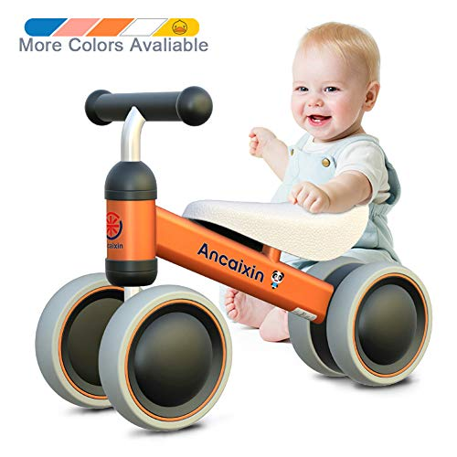 Baby Balance Bikes 10-24 Month Children Walker | Toys for 1 Year Old Boys Girls | No Pedal Infant 4 Wheels Toddler Bicycle | Best First Birthday New Year Holiday Orange