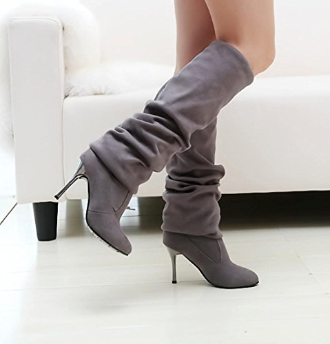 Hot!Yanhoo Point Toe High-Heeled Women Boots Autumn Winter Fitted Women Single Shoes Grey ybRC3
