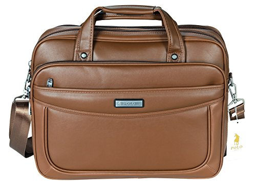 POLO VIDENG Leather Business Briefcase,Extended 15.6 inch Laptop Shoulder Bags Casual Travel Handbag (Light Brown-M1) (Light Brown Leather Briefcase)