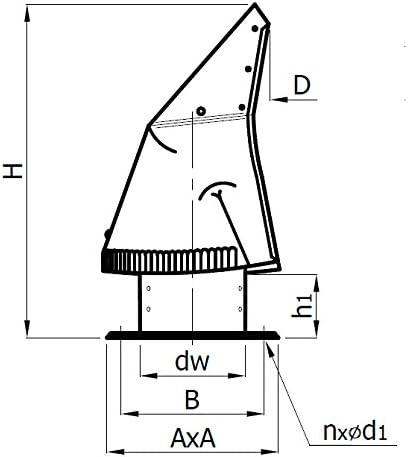 Chemin/ée en acier capot rotowent base carr/ée OCOC de 150mm