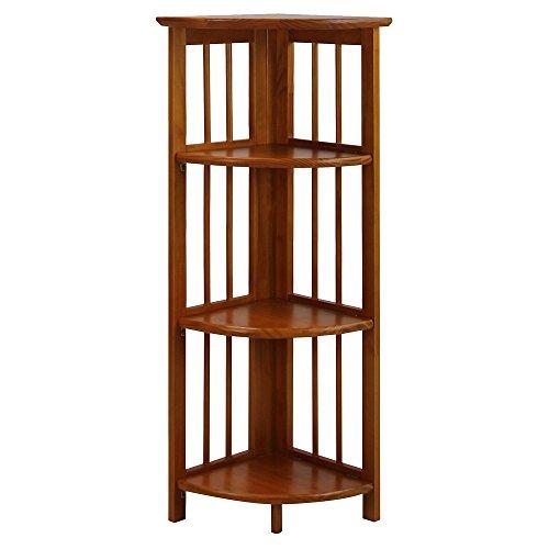 Mission Folding Bookcase - Folding Corner Bookcase 4 Tier Furniture Shelves Storage Home Office Room Organizer Display Stackable Rack Corner Bookcase Decorative Wood Honey Oak