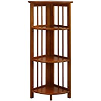 Folding Corner Bookcase 4 Tier Furniture Shelves Storage Home Office Room Organizer Display Stackable Rack Corner Bookcase Decorative Wood Honey Oak