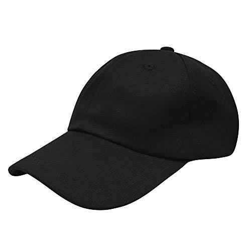 Cotton Hat Baseball 100% (Polo Baseball Cap, 100% Cotton Classic Baseball Hat, Unstructured Low Profile Plain Dad Caps for Men and Women Black)