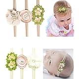 Jiaqee Baby Girl Headband Set - 6 Pcs Crystal Pearls Flower Soft Elastic Nylon HairBand Hair Ties For Toddler Gift