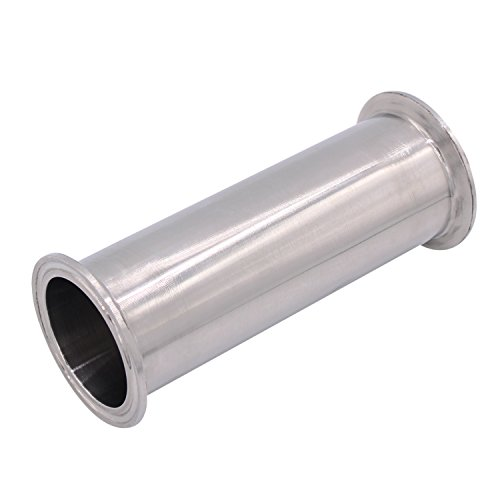 Dernord Sanitary Spool Tube with Clamp Ends,Stainless Steel 304 Seamless Round Tubing with 2 inch Tri Clamp 64MM Ferrule Flange (Tube Length: 6 Inch/152MM) - Sanitary Tubing
