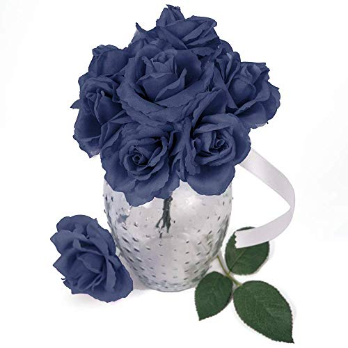 Larksilk Artificial Flowers 50 Pcs Bulk Wholesale Navy Blue Silk Rose Picks with Flexible 8