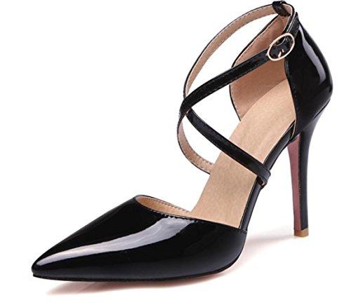 CSDM DONNE grandi stilo a forma di tacco puntato piede scarpe da sposa scarpe da sposa alto tacchi Sandalss giallo bianco rosa nudo nero , black , 32 custom 2-4 days do not return