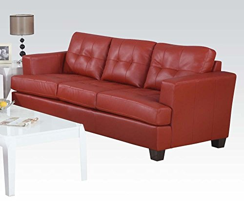 1PerfectChoice Platinum Red Bonded Leather Sofa