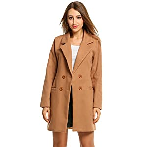 HOTOUCH Women Overcoat Jacket Double Breasted Wool Blended Pea Coat Brown XL