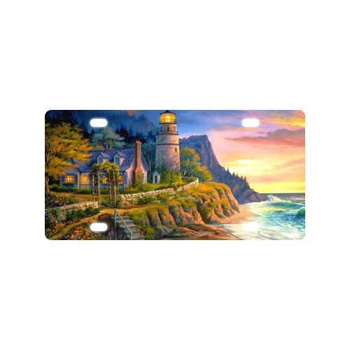 Unique Custom Sea Lighthouse Cottage House image Metal Car tag License Plate - 6 X 12 inch