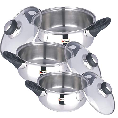 Stainless-Steel-Triply-Induction-Base-Belly-Shape-Cooking-Pot-Combo-Pack-of-3-Sizes-with-Glass-Lids-1200Ml-1600Ml-2000Ml-3-Piece