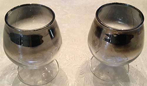 Vintage Silver Ombre After Dinner Cordial - Liqueur Glasses Set of 2 - Glass Liqueur