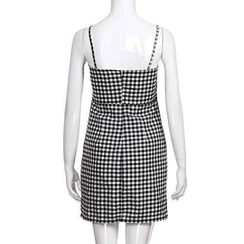 Women Summer Dress,Ladies Backless Plaid Printed Strap Sleeveless Party Sexy Mini Dresses (XL, Black) by Woaills-Tops (Image #7)