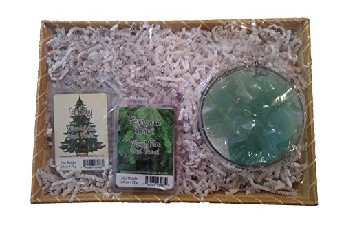 Primal Elements Christmas Variety Gift Basket of Handmade Glycerin Bar Soap, Bath Bombs, Wax Melts and/or Candles Holiday Set (Evergreen Forest - Candle and Wax Melts) (Stocking Evergreen)