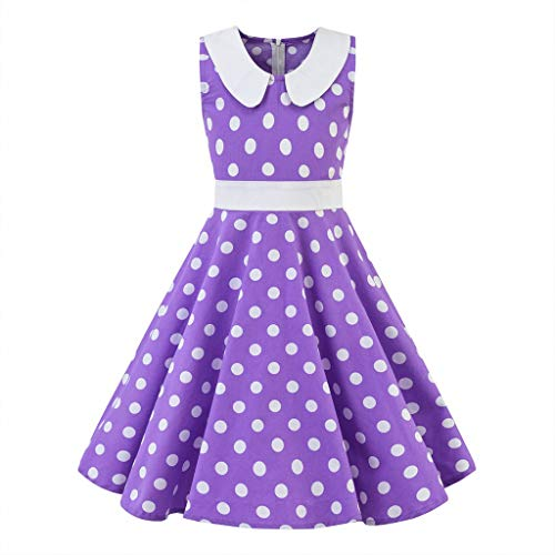 Ariestorm Kids Teen Children Girl Vintage 1950s Retro Sleeveless Doll Collar Dot Print Casual Dress Skirt Purple