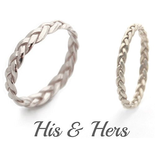 (Handmade His and Hers Wedding Ring Set Gold or Sterling Silver Matching Rings for him and her )