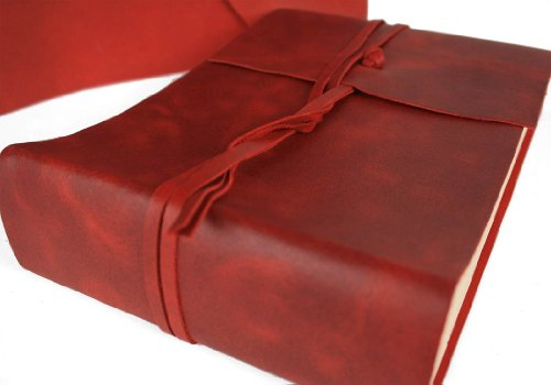 Capri Small Firebrick Handmade Italian Leather Wrap Photo Album, Classic Style Pages (22cm x 16cm x 6cm) by LEATHERKIND (Image #3)