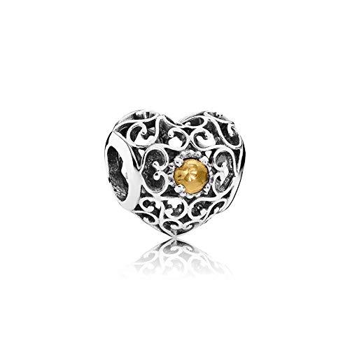 Pandora November Signature Heart Charm With Citrine 791784CI