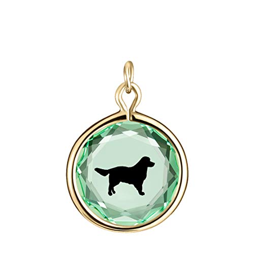(LovePendants Charm in Green Swarovski Crystal with Black Enameled Retriever Engraving in 14k Gold-Plated Sterling Silver.)