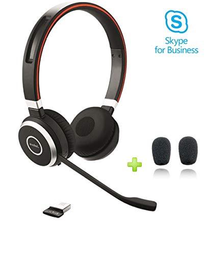 Jabra Evolve 65 Duo MS Bluetooth Headset USB Bundle | Microsoft Certified | NFC, Windows PC, MAC, Smartphone, Streaming Music, Skype, IP Communications | Includes Bonus Cushions, ()
