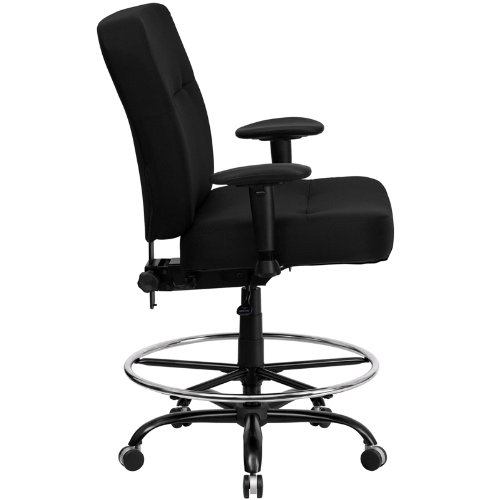 Flash Furniture HERCULES Series Big & Tall 400 lb. Rated Black Fabric Drafting Chair with Adjustable Arms