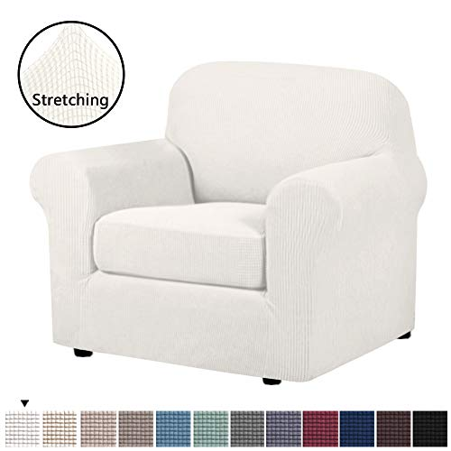 H.VERSAILTEX 2-Pieces Armchair Cover Chair Slipcovers with Arms Furniture Protector Cover Fit Armchair Width Up to 48 Inch, Jacquard Spandex Couch Covers Armchair Slipcover - Ivory White, Chair