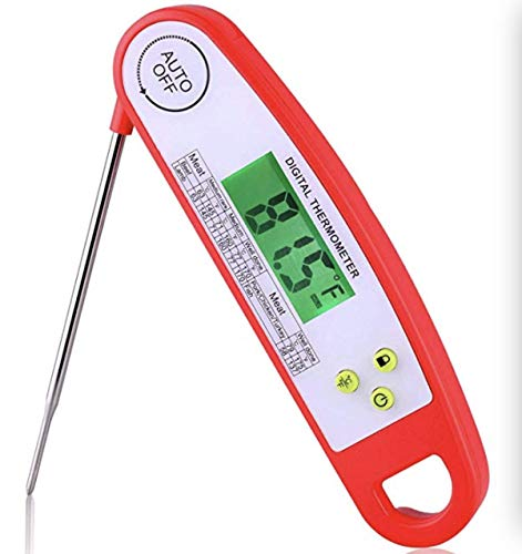 Cheap Digital Food Thermometer for Kitchen- Instant Read Meat Thermometer w/FDA Certified Auto-off Long Probe Cooking Thermometer for Barbecue Grill Roaster Baking Thermometer with Led Backlight & Battery