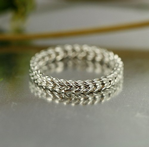 Love Rope 14K White Gold Braided Wedding Band Unique Twisted Ring Bridal