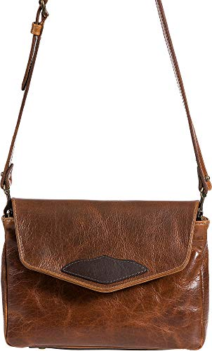 (Santa Fe Bison Leather Crossbody Messenger Bag with Concealed Carry Pocket)