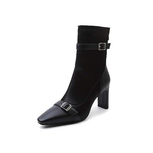 Botines Cuadrados con tacón Cuadrado, Botines Altos elásticos, Negro, 41: Amazon.es: Zapatos y complementos