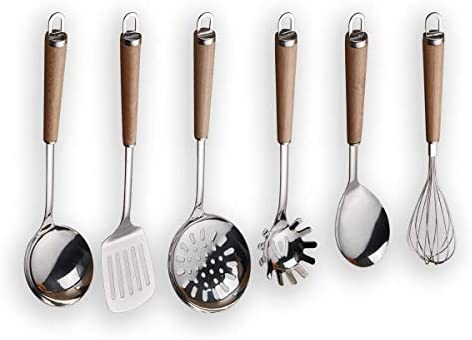 Berglander Juego de utensilios de cocina de mango de madera de acero inoxidable, cucharón, cuchara, espumadera, batidor de huevos, tornero ranurado, ...