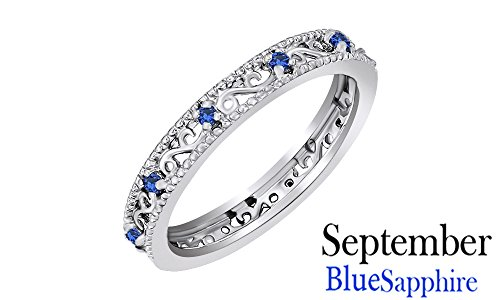 Jewel Zone US Round Cut Simulated Blue Sapphire Stackable Ring In 14K White Gold Over Sterling Silver