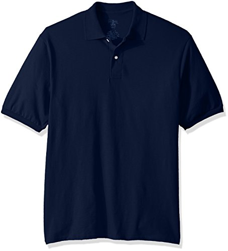 Jerzees Men's Spot Shield Short Sleeve Polo Sport Shirt, JNavy, Medium -