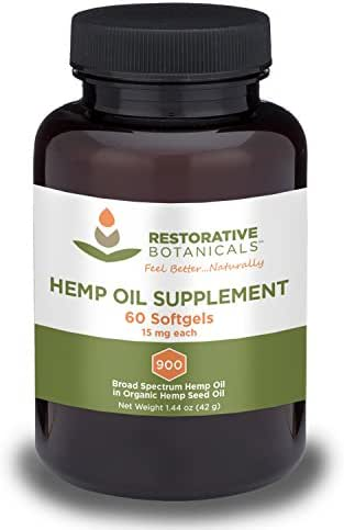 Hemp Oil Supplement Softgels - 15mg - 60 Count - Restorative Botancials - Extracted from Organically Grown Hemp - Supports Health Sleep Patterns