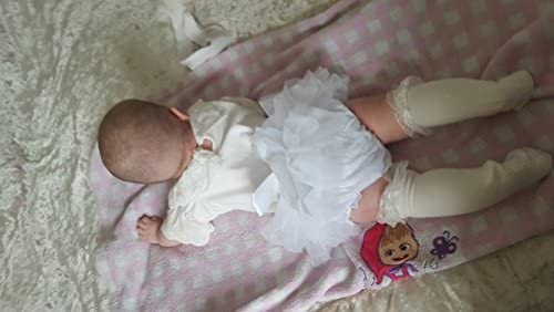 muyan Girls Cotton Tulle Ruffle with Bow Baby Bloomer Diaper Cover and Headband Set White, M 6Month-12Month