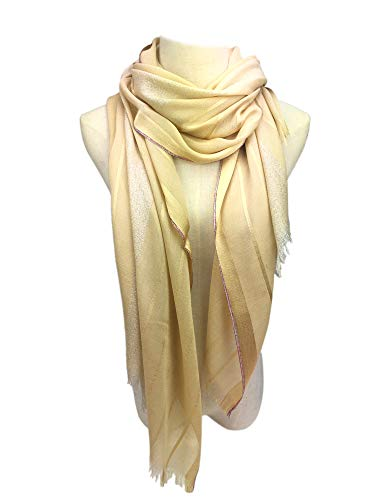 (YOUR SMILE Womens Wedding Evening Wrap Shawl Glitter Metallic Prom Party Scarf with Fringe (Gold))