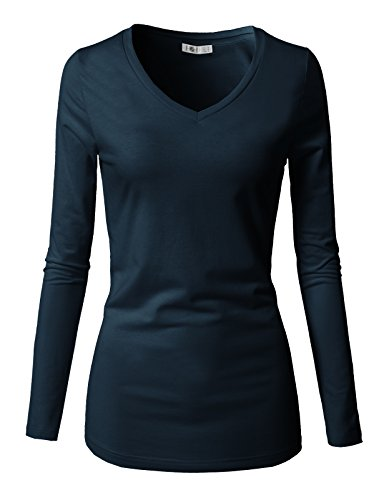 (H2H Women's Long-Sleeve V-Neck Tissue T-Shirt Navy US 3XL/Asia 3XL (CWTTL0250))
