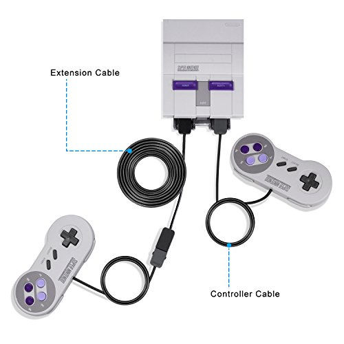 Keten NES/SNES Classic Controller Extension Cable 3M/10 ft (2-Pack), Super  NES Extended Power Cord for Super Nintendo Classic Edition 2017 and NES