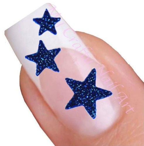 Blue Glitter Star Adhesive Nail Stickers Art My Crafty UK Ltd