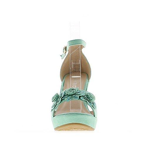 Sandali neri aspetto donna camoscio zeppa 11 cm con piattaforma di 2 cm