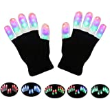 LSXD LED Gloves, Finger Lights 3 Colors 6 Modes Flashing LED Warm Gloves Colorful Flashing Rave Glow Gloves Kids & Adults Toys for Halloween Costume Party Favors Light Up Toys Novelty