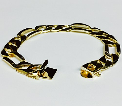 14Kt-Solid-Yellow-Gold-Handmade-Figaro-Curb-Link-Mens-Bracelet-9-38-Grams-12Mm