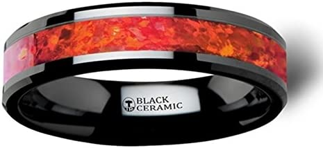 Thorsten NOVA Black Ceramic Wedding Band with Beveled Edges Ring and Red Opal Inlay 6mm Wide from Roy Rose Jewelry
