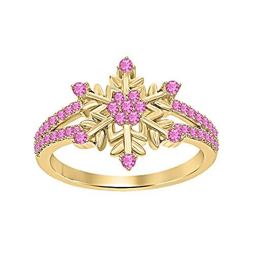 (tusakha Beautiful 14K Yellow Gold Plated Round Pink Sapphire Split Shank Flower Design Snowflake Ring 925 Sterling Silver)