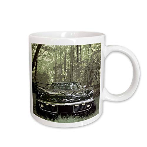 Blue Two Tone Corvette - 3dRose Stamp City - transportation - Stylized photograph of a classic Corvette in the woods. - 15oz Two-Tone Blue Mug (mug_315605_11)