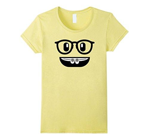 [Women's Emoji Shirt Costume Braces Teeth Emoji Nerd Glasses Yellow Medium Lemon] (Nerd Costume Toddler)