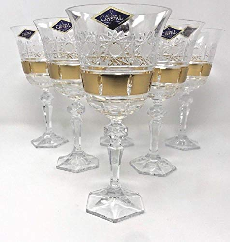 Bohemian Cut Glass - BOHEMIAN CRYSTAL GLASS WINE GLASSES 8 oz./220 ml. SET of 6 GOLD PLATED HAND CUT VINTAGE LACE DESIGN STEM GOBLETS for WINES or WATER CLASSIC CZECH CRYSTAL GLASS