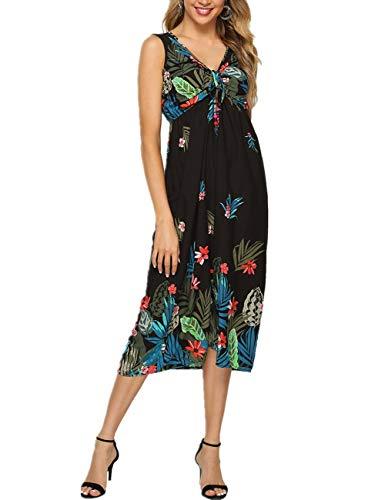 - Women Boho Clothing Empire Waist Pleated Floral Summer Maxi Dress Black Green
