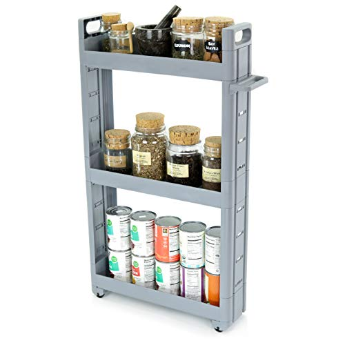 Adorn Home Essentials 3-Tier Narrow, Storage cart Pull-Out, Slide - Out Mobile Commodity Shelf, Rack Organizer Unit on Wheels | Plastic | Grey